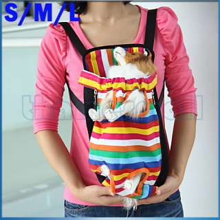 Pet Dog Colorful Striped Front Back Carrier Mesh Backpack Bag Legs Out
