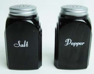 Black Amethyst Glass Arch Deco Style Salt and Pepper