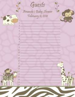 Cocalo Jacana Baby Shower Guest List   Zebra, Giraffe, Monkey