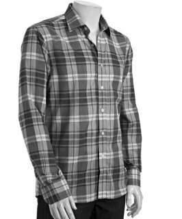 Report Collection steel blue plaid cotton button front shirt